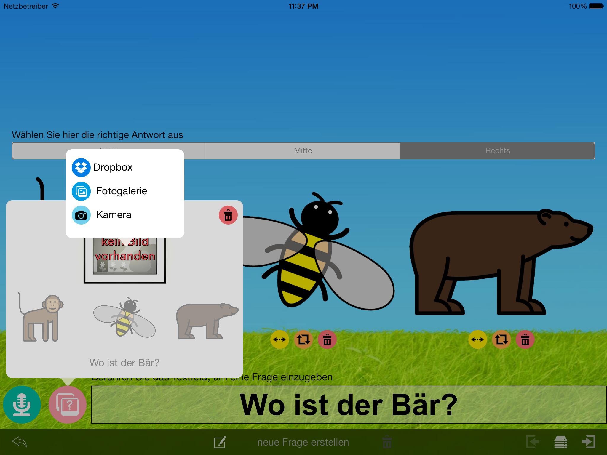 Quizmaker v1.1.1 – Fotos aus Dropbox und von der iPad Kamera