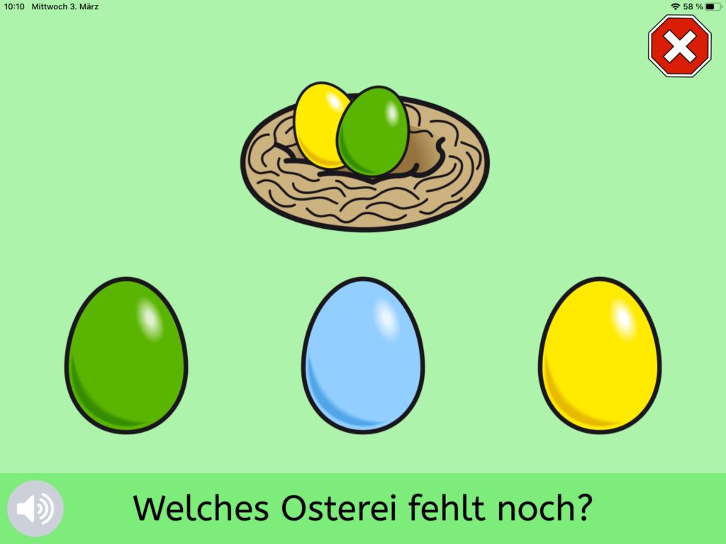 Quizmaker-Screenhot eines Osternestes mit bunten Ostereiern