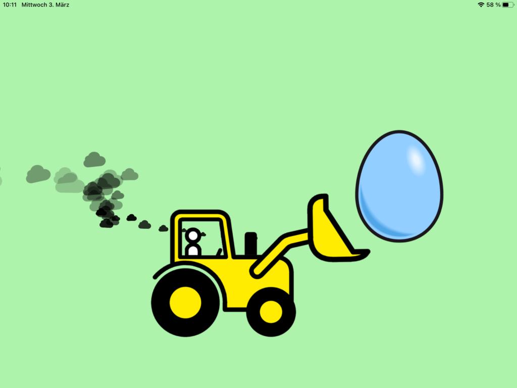 Screenshot einer Quizmaker-Animation, ein Bulldozer hebt das fehlende Ei ins Osternest